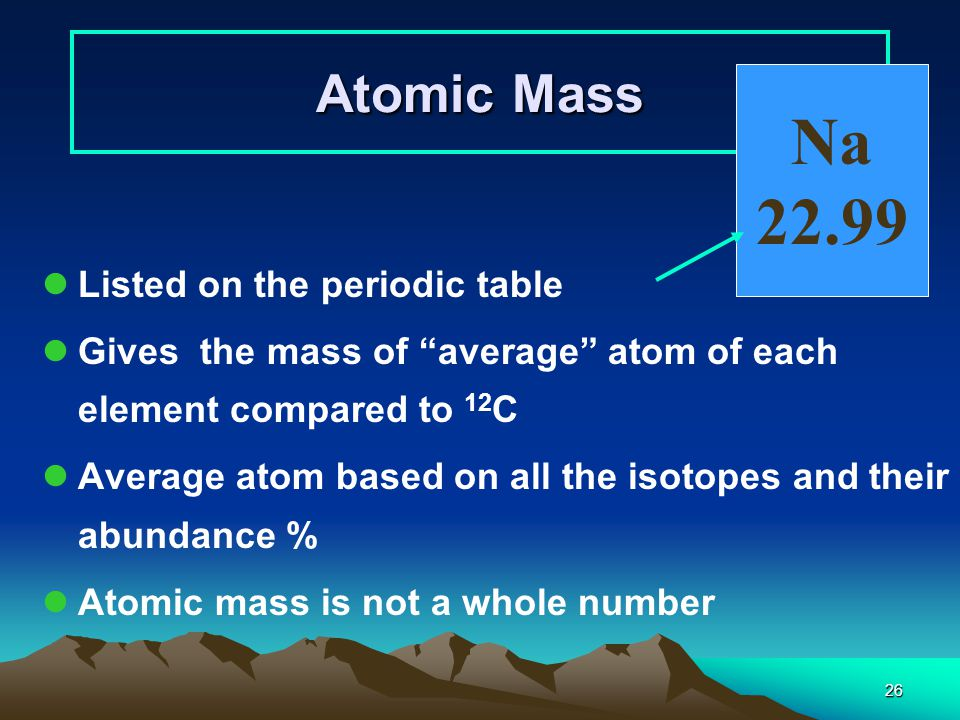 Atomic number and mass number ppt download 26 na 2299 atomic mass listed on the periodic table urtaz Images