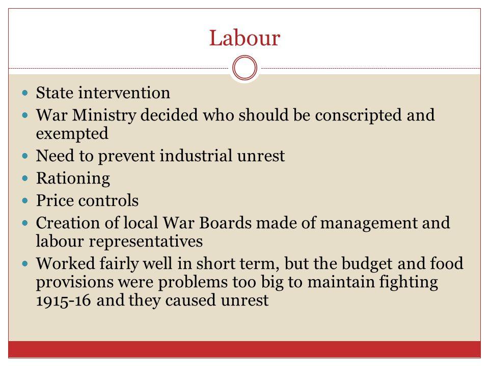 5 Labour State Intervention