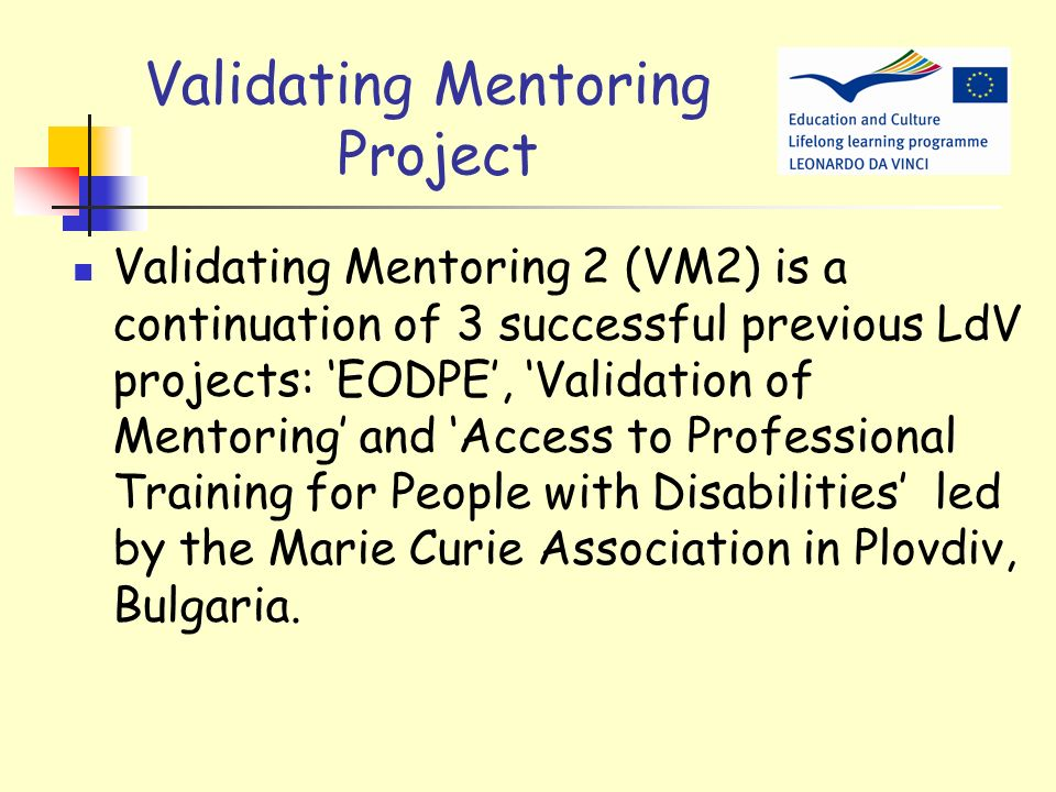 Validating Mentoring Project