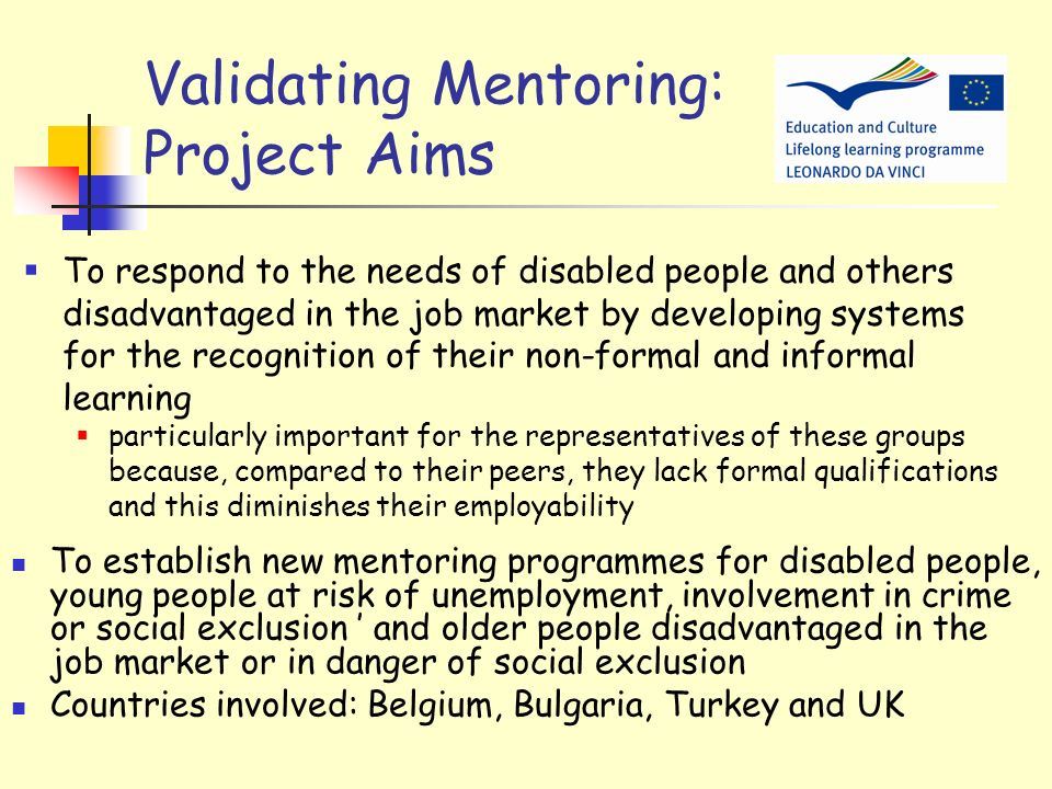 Validating Mentoring: Project Aims
