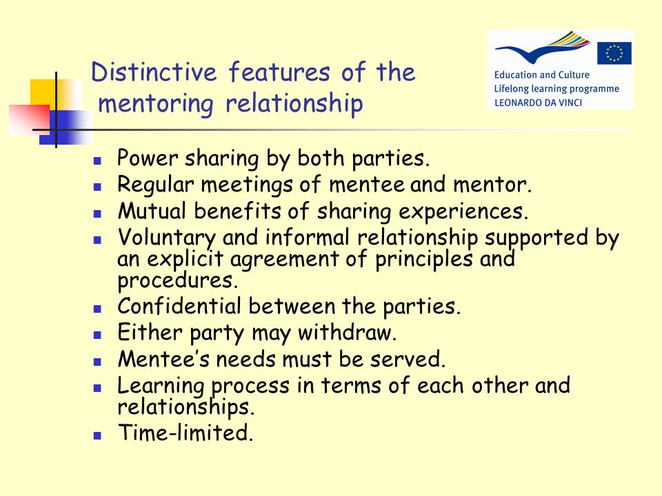 Distinctive features of the mentoring relationship