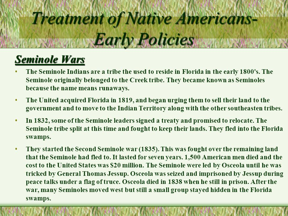 us government treatment of native americans in late 1800s In 1900, the us census counted only 470 american indians in texas  nearly  10 million natives inhabited north america, but by the middle of the 19th century   unlike other states in the us west, the federal government did not have public .