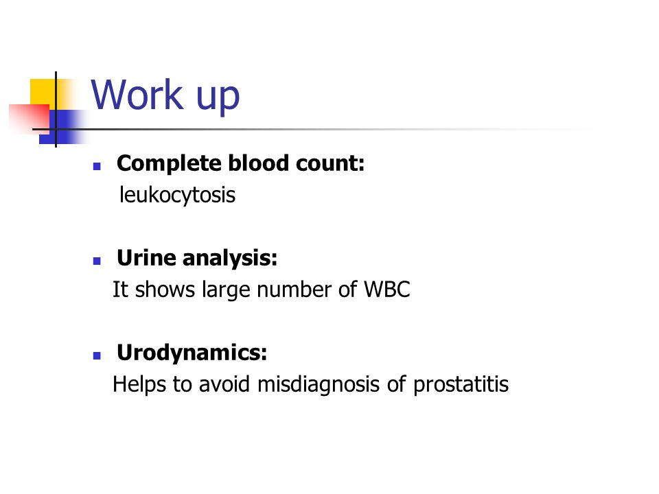 Work up Complete blood count: leukocytosis Urine analysis: