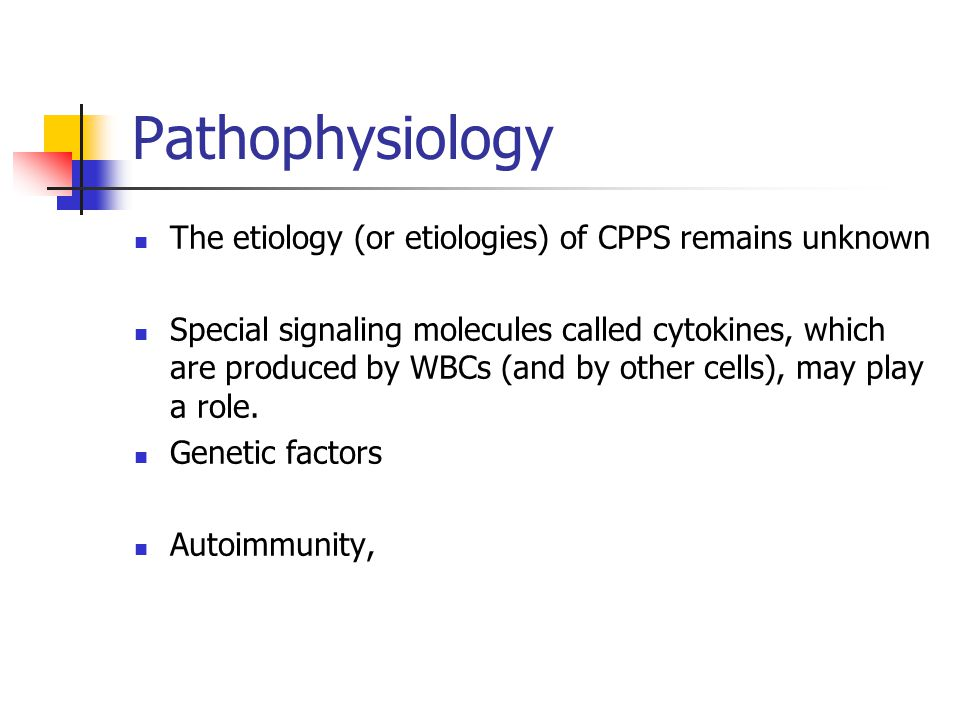 Pathophysiology The etiology (or etiologies) of CPPS remains unknown