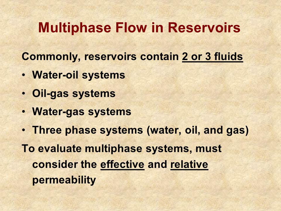 Multiphase Flow in Reservoirs
