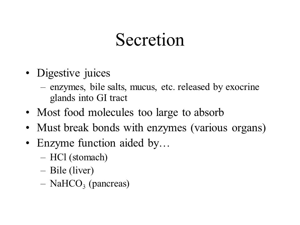 Secretion Digestive juices Most food molecules too large to absorb