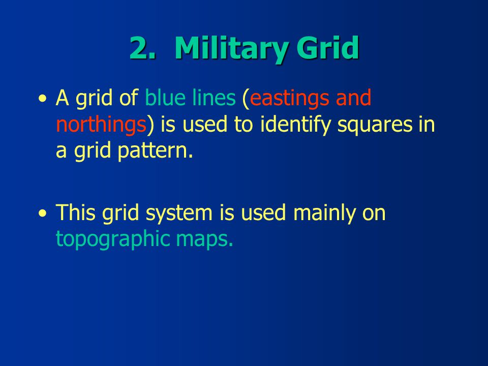 Military Grid A Grid Of Blue Lines Eastings And Northings Is Used