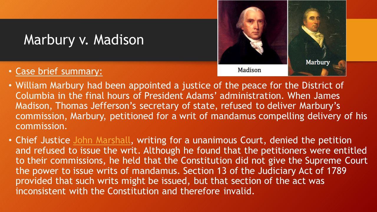 What was the impact on the united states after the decision of the Marbury VS. Madison case?