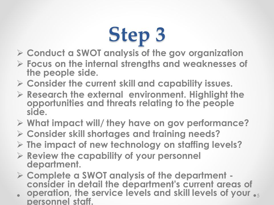 Step 3 Conduct a SWOT analysis of the gov organization