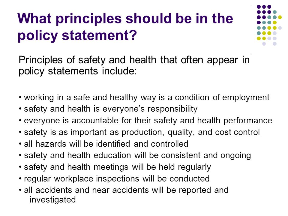 What principles should be in the policy statement