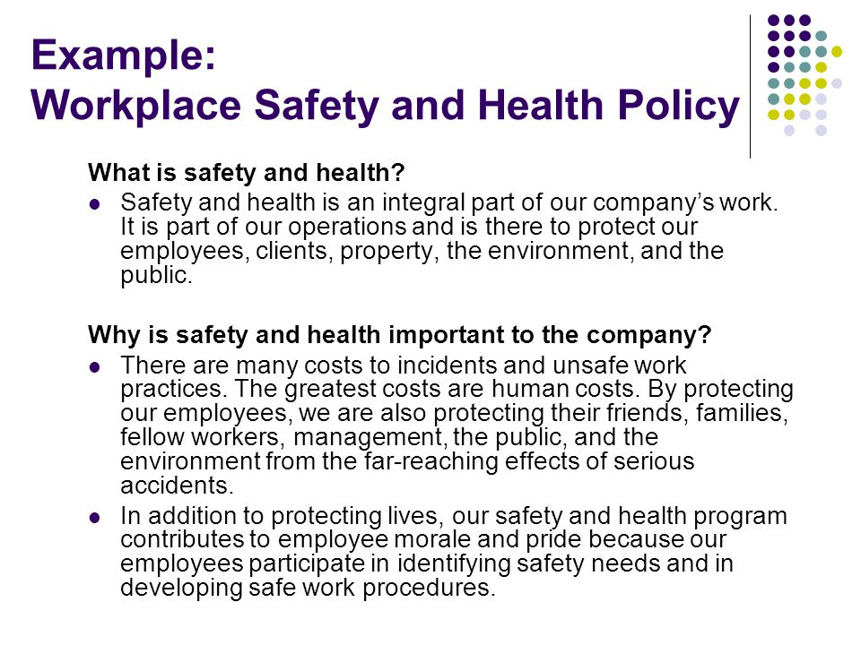 Example: Workplace Safety and Health Policy
