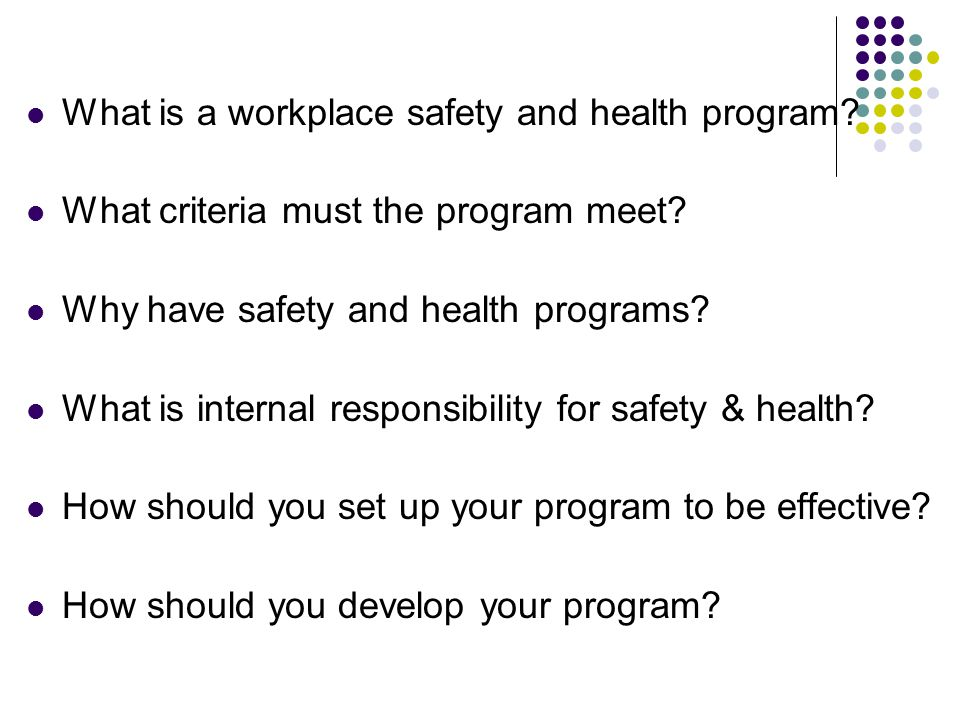 What is a workplace safety and health program