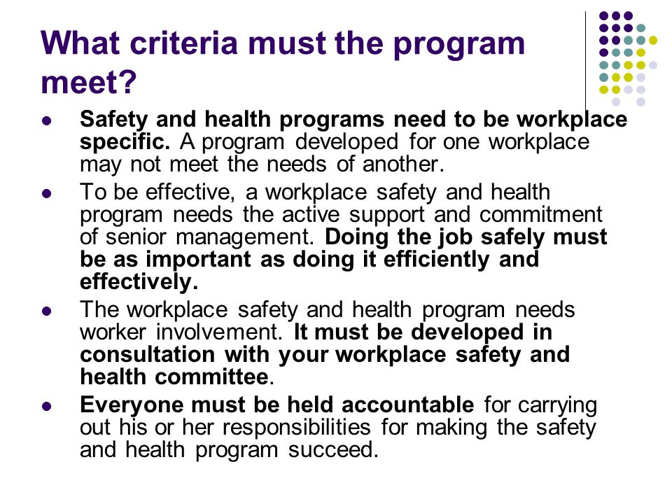 What criteria must the program meet