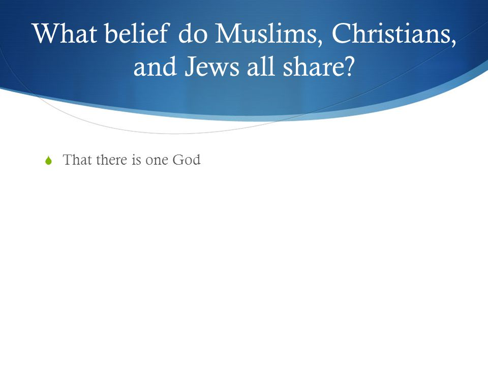 What belief do Muslims, Christians, and Jews all share