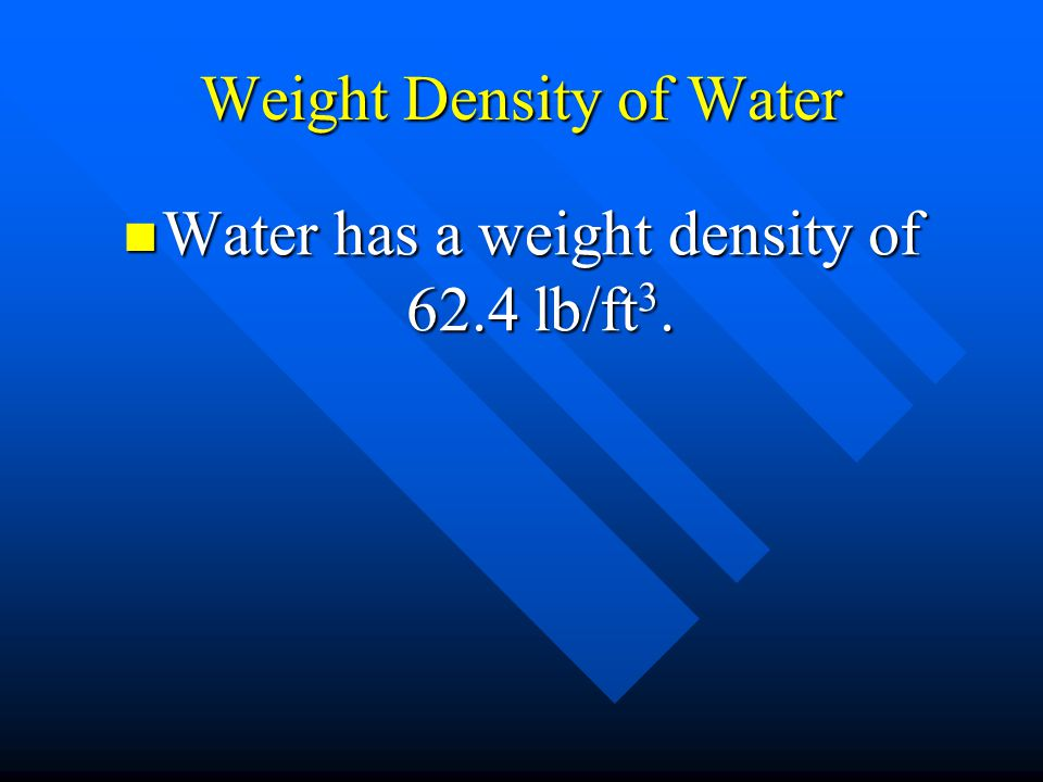 Weight Density of Water