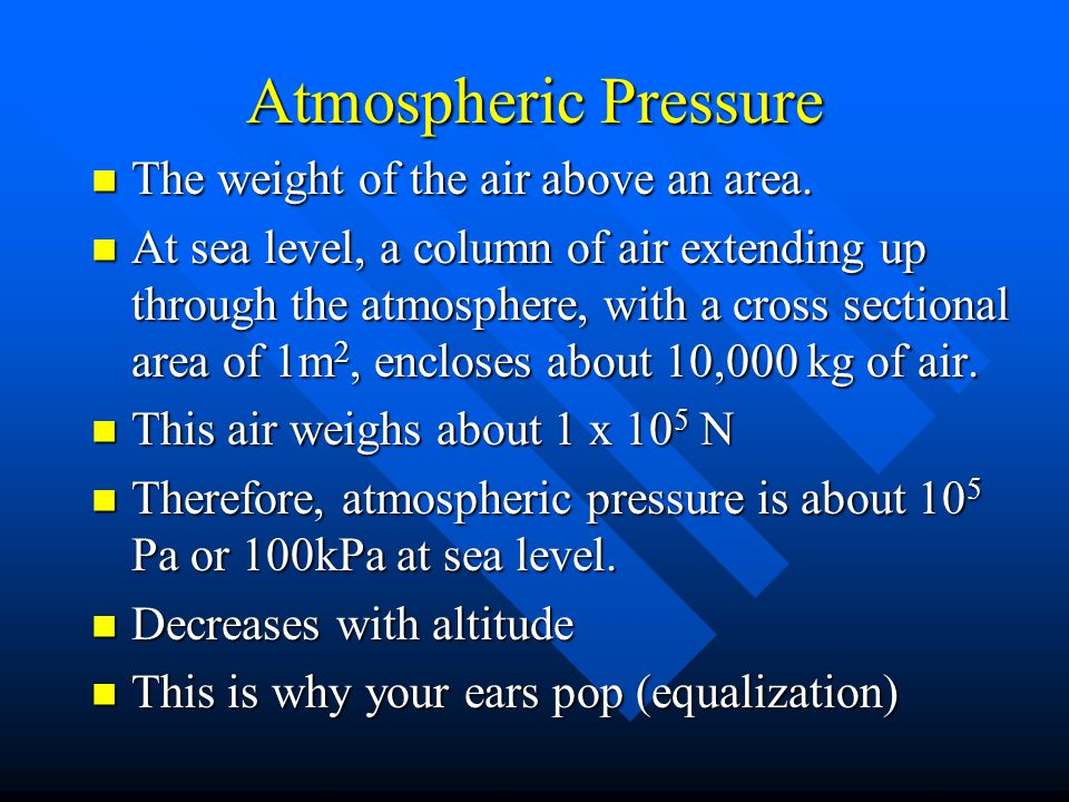 Atmospheric Pressure The weight of the air above an area.