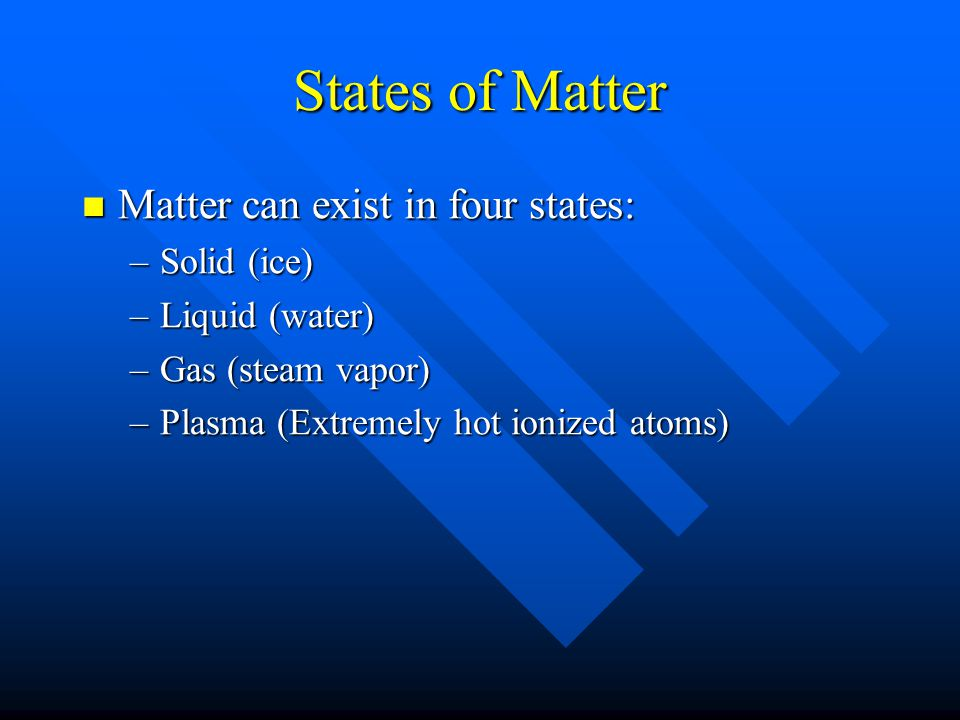 States of Matter Matter can exist in four states: Solid (ice)