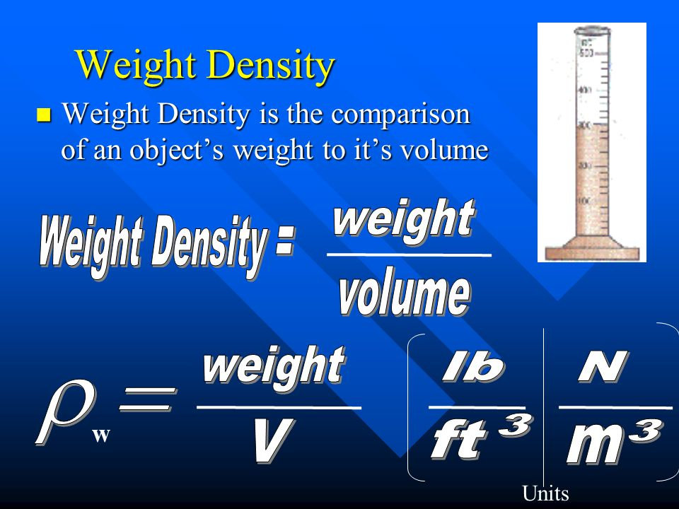 Weight Density weight Weight Density = volume weight lb N r = 3 V ft 3