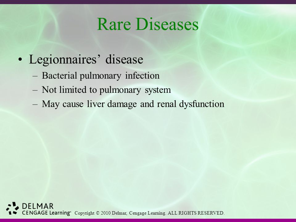 Rare Diseases Legionnaires' disease Bacterial pulmonary infection