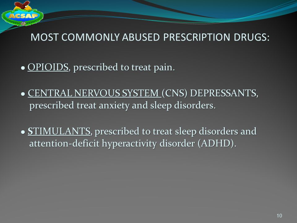 MOST COMMONLY ABUSED PRESCRIPTION DRUGS: