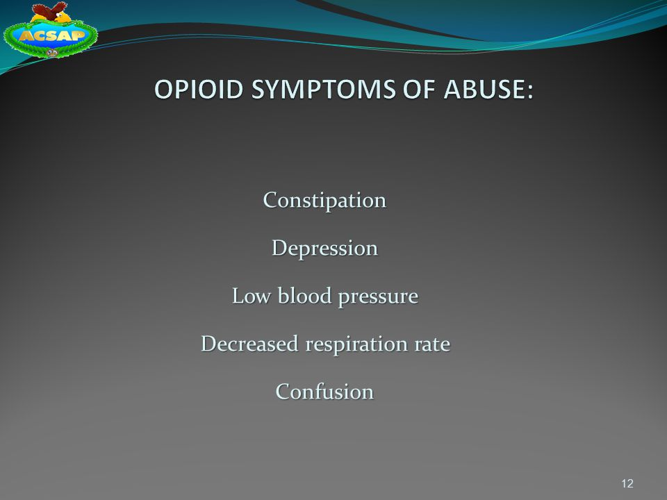 OPIOID SYMPTOMS OF ABUSE: