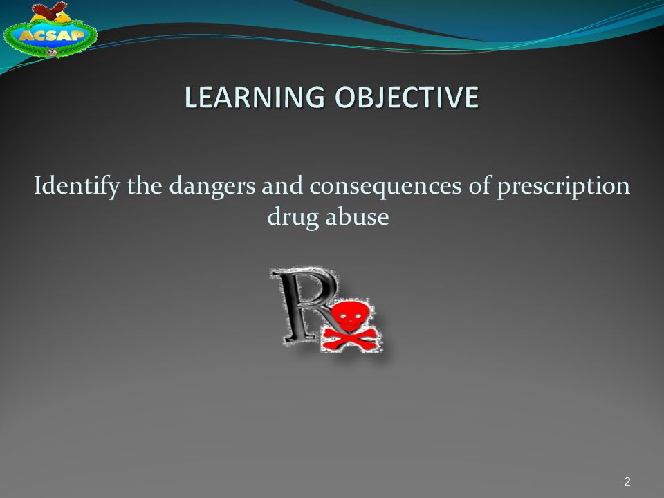 Identify the dangers and consequences of prescription drug abuse