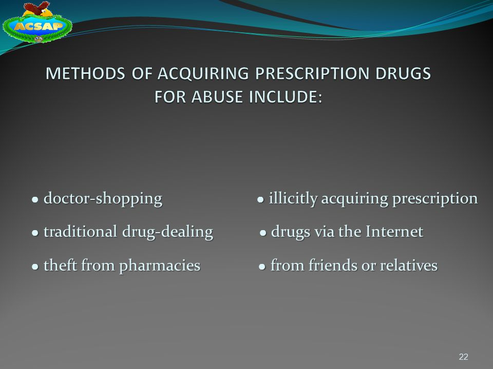 METHODS OF ACQUIRING PRESCRIPTION DRUGS FOR ABUSE INCLUDE:
