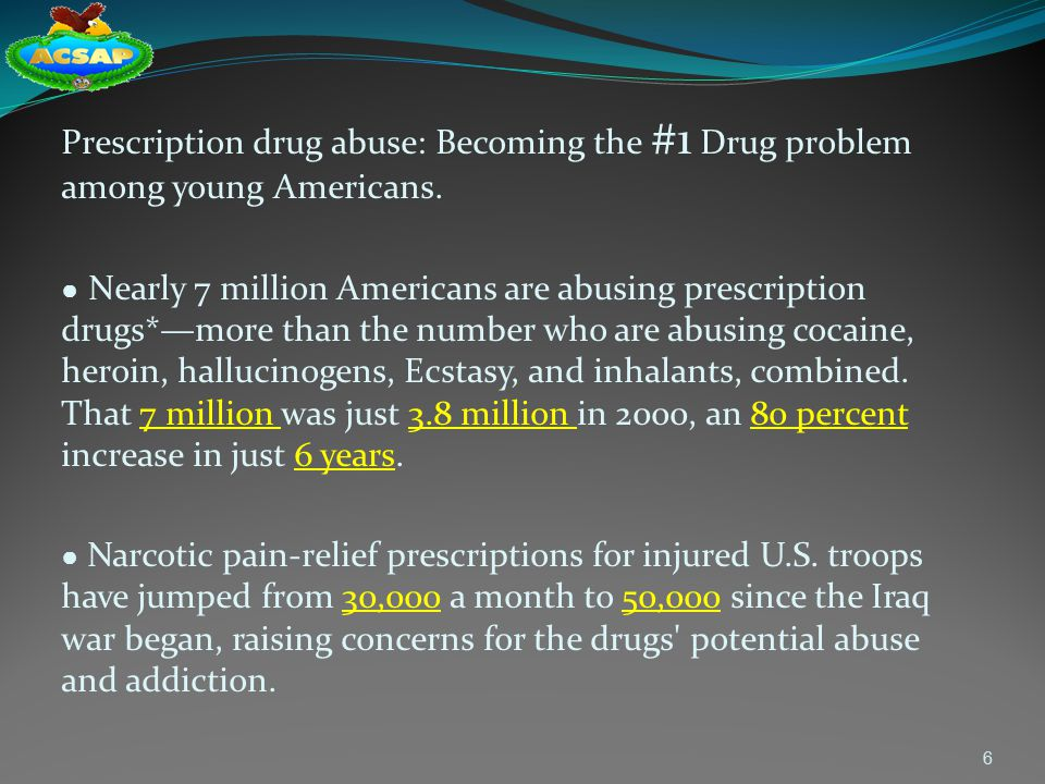 Prescription drug abuse: Becoming the #1 Drug problem among young Americans.