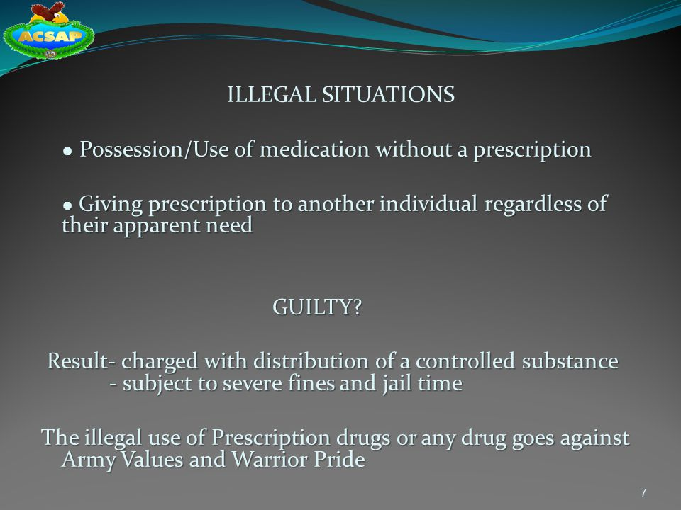 ILLEGAL SITUATIONS ● Possession/Use of medication without a prescription.