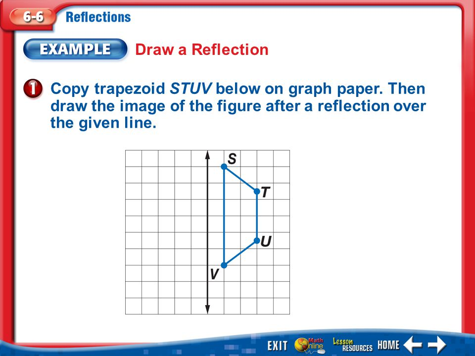 Draw a Reflection Copy trapezoid STUV below on graph paper. Then draw the image of the figure after a reflection over the given line.