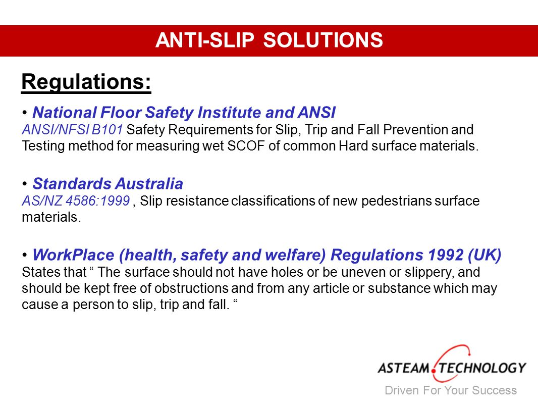 15 Driven For Your Success ANTI SLIP SOLUTIONS Regulations: National Floor  Safety Institute ...