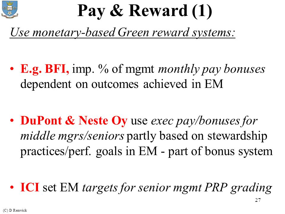 pay and reward management in practice management essay One view of the distinction between personnel management and hrm is offered  by  employee counselling, payment and reward policies, health and safety,.