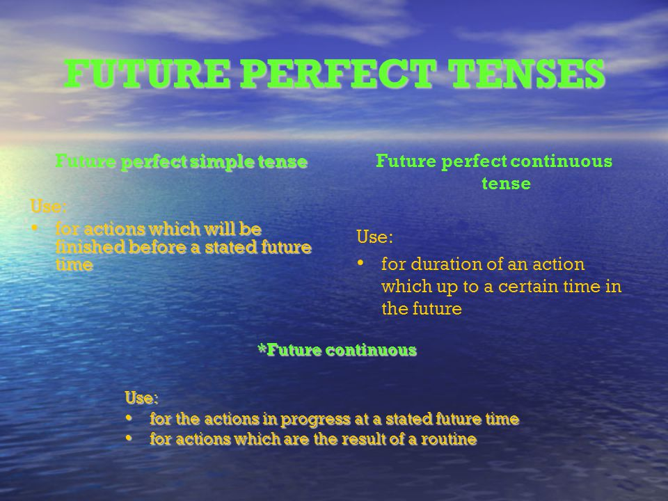 Future perfect continuous tense Future perfect simple tense