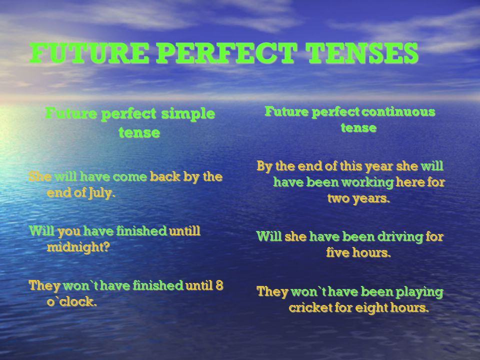 Future perfect simple tense Future perfect continuous tense