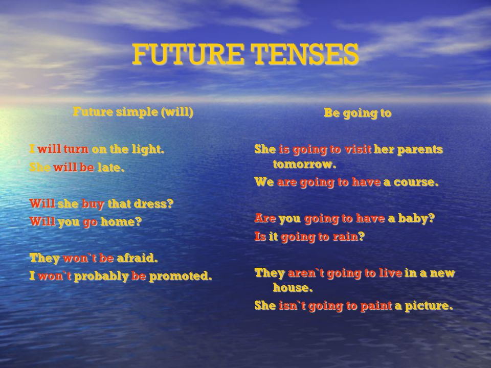 FUTURE TENSES Future simple (will)‏ I will turn on the light.