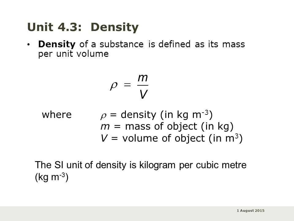 density and unit weight relationship