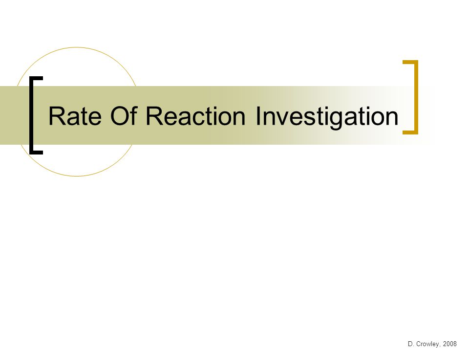 investigating the rate of reaction between