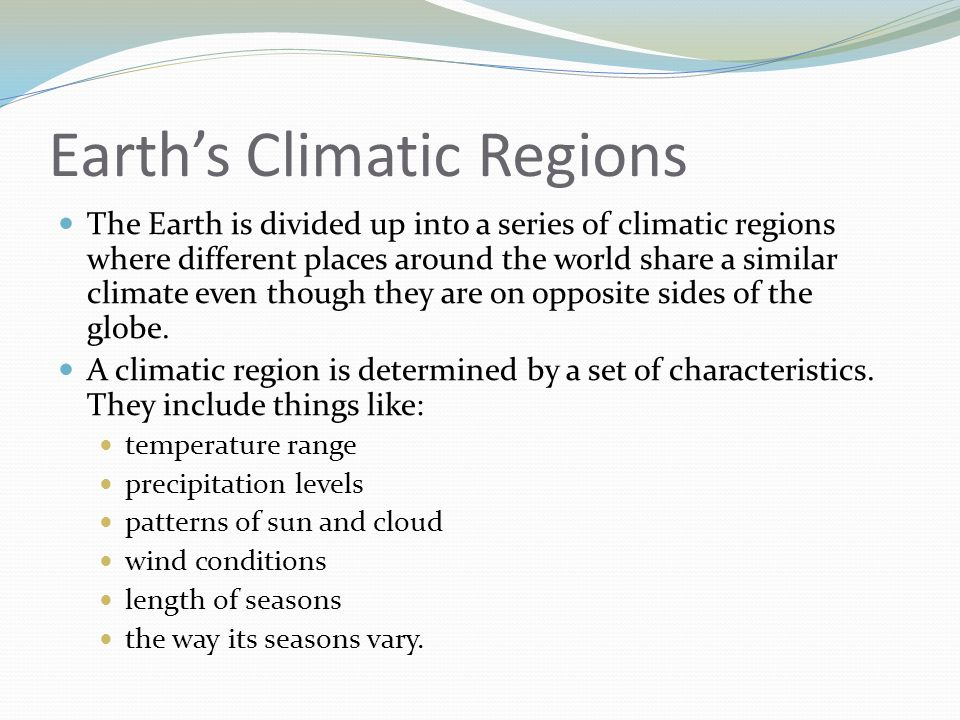 Earth's Climatic Regions