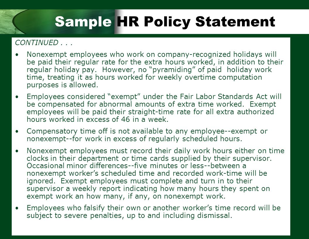 hr manual of a company