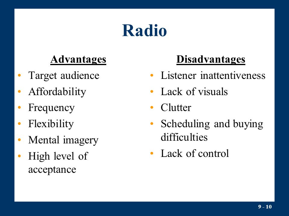 Radio Advantages Target audience Affordability Frequency Flexibility