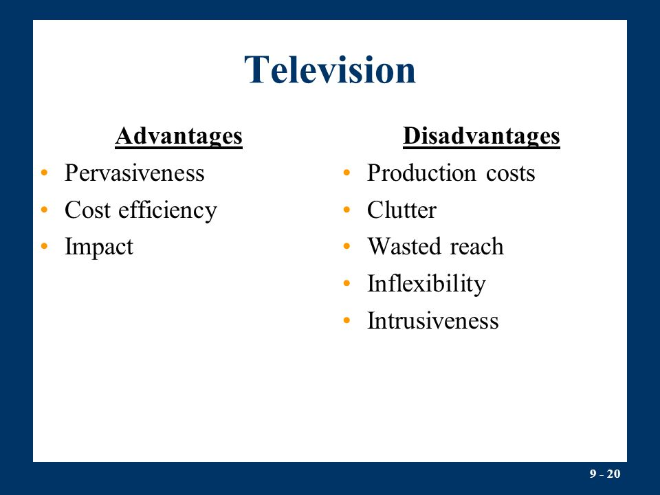 Television Advantages Pervasiveness Cost efficiency Impact