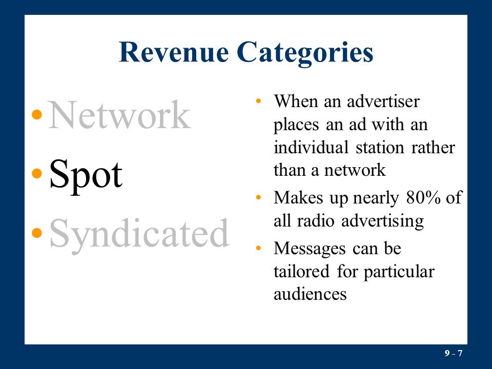 Network Spot Syndicated Revenue Categories