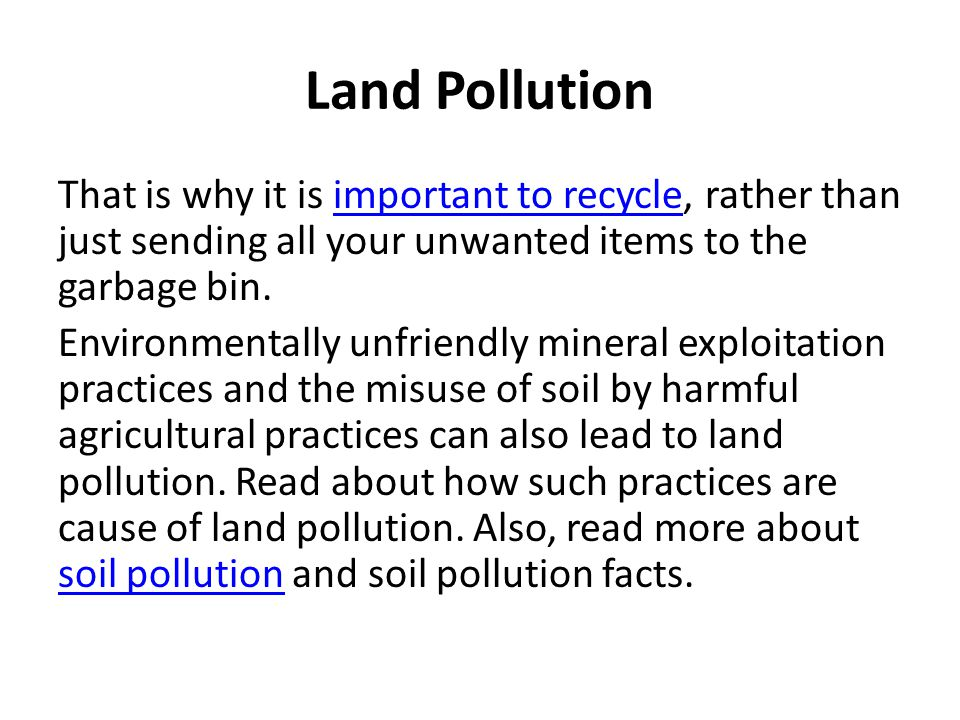 3 types of pollutions air pollution water pollution land for Soil and water facts