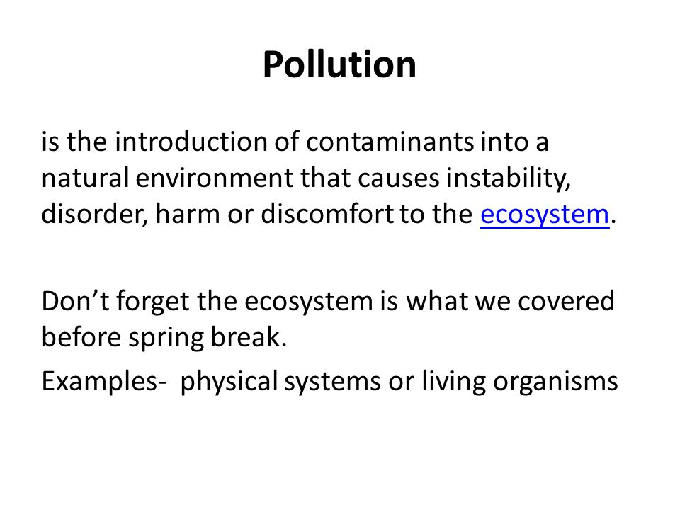 Pollution in the environment types and