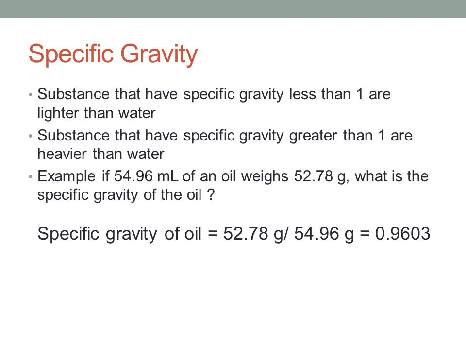 density specific gravity lab report Relative density, or specific gravity, is the ratio of the density of a substance to the  density of a given reference material specific gravity usually means relative.