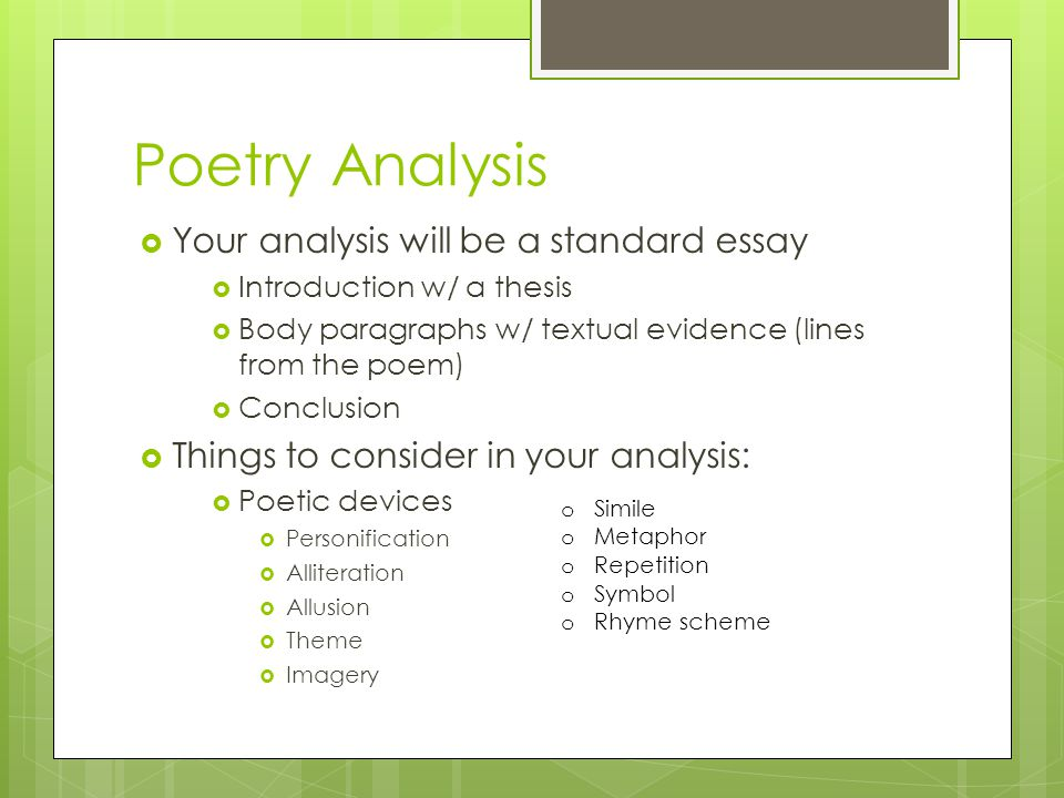 poetry analysis essay introduction I'm here to give you an analytical essay outline to a poem in short, this type of essay requires you in your analysis the introduction should.