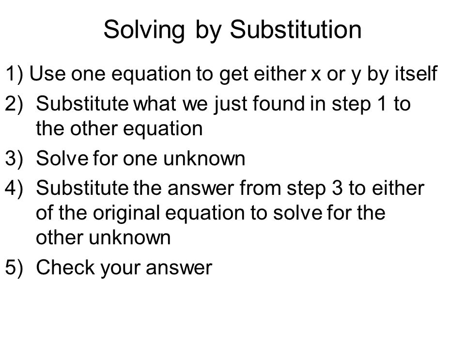 how to solve by substitution