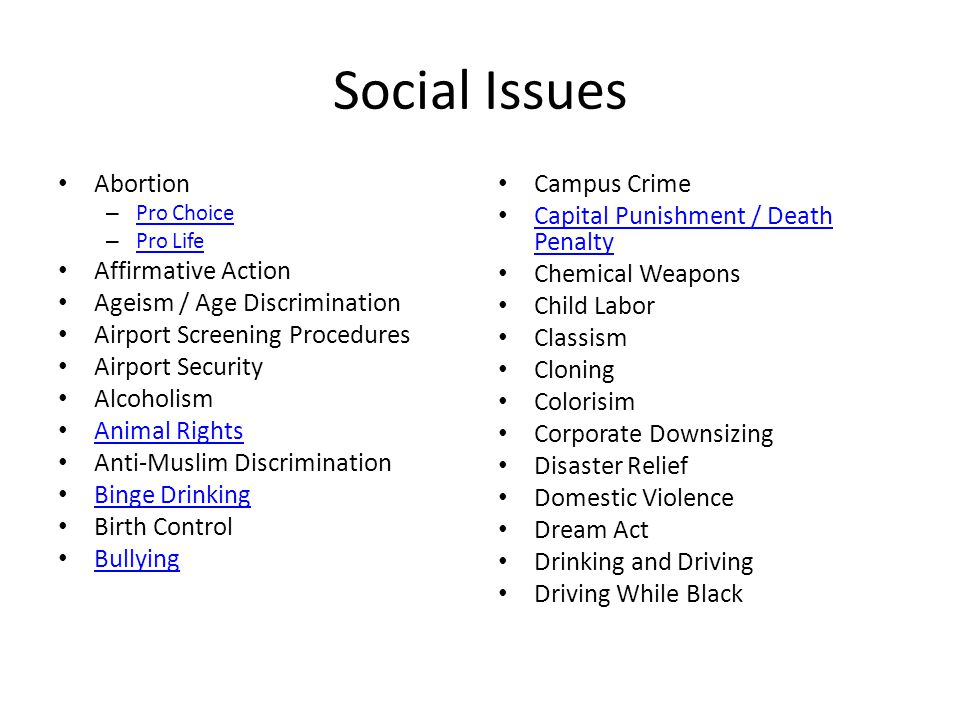 Social Issues Abortion Affirmative Action Ageism / Age Discrimination