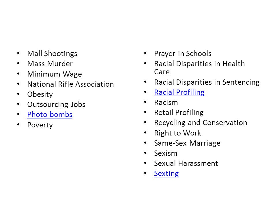 Mall Shootings Mass Murder. Minimum Wage. National Rifle Association. Obesity. Outsourcing Jobs.
