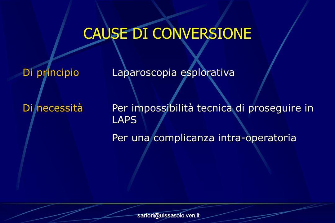 CAUSE DI CONVERSIONE Di principio Laparoscopia esplorativa